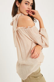 City Glow Cold Shoulder Ruffle Top