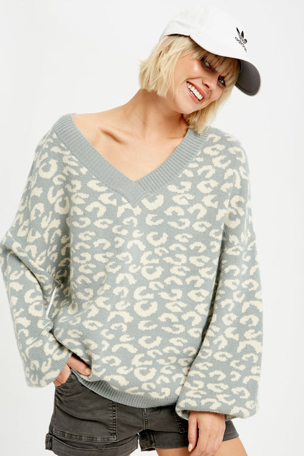 Falling for Leopard Knit Pullover Sweater