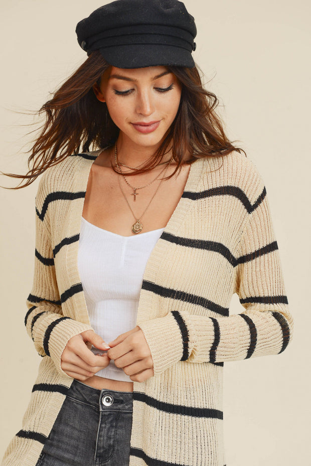 Cute in Rome Ribbed Stripe Cardigan