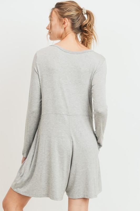Grey V-Neck Long Sleeve Romper