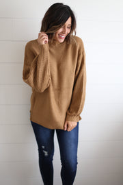 CAMEL MOCK NECK SWEATER