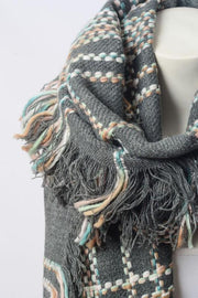 Chunky Multi Colored Plaid Stitch Scarf - Gray