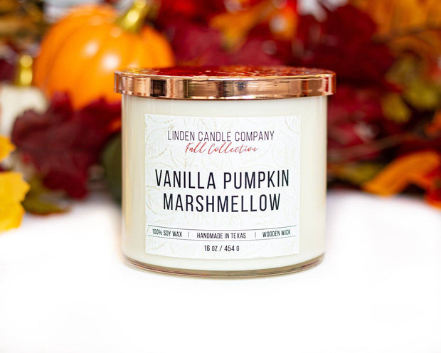Linden Candle Company - 16oz Vanilla Pumpkin Marshmallow Fall Candle