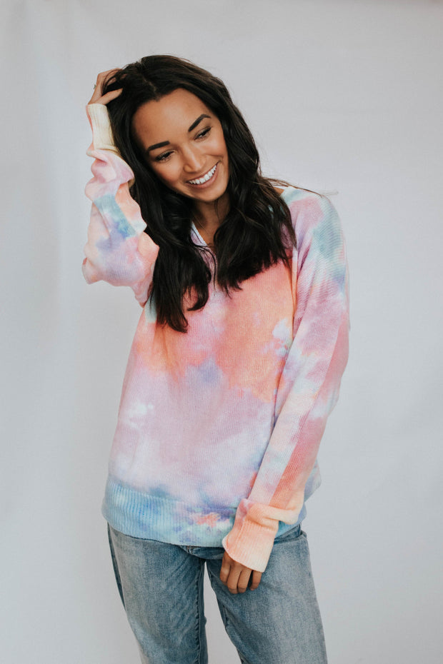 Multi Colored Long Sleeve Tie Dye Sweater