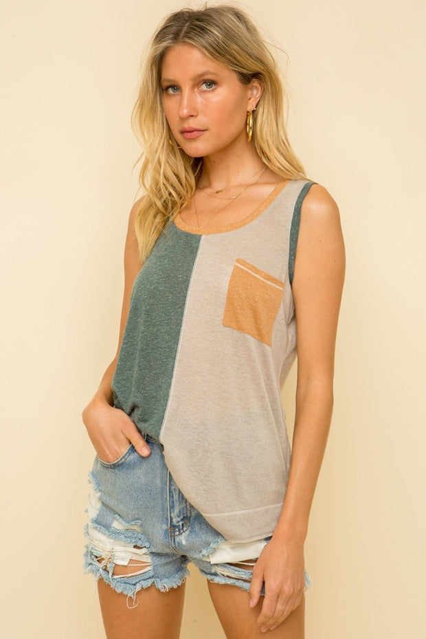 COLORBLOCK TANK WITH POCKET