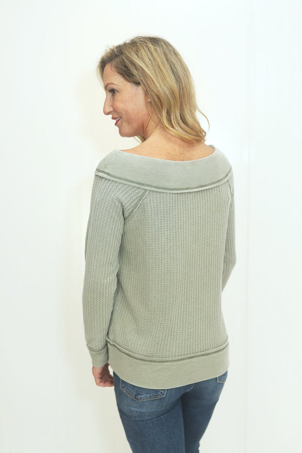 Thank Me Later Lt. Olive Thermal Knit Top