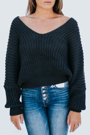Charcoal Bat Wing Sweater