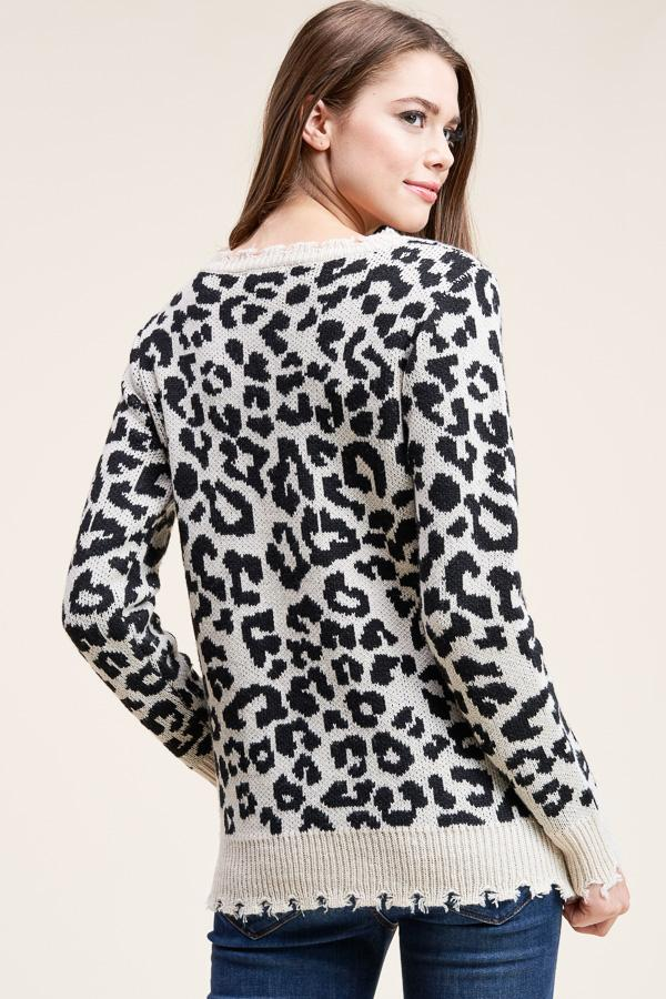 Chi-Town Nights Leopard Distressed Sweater