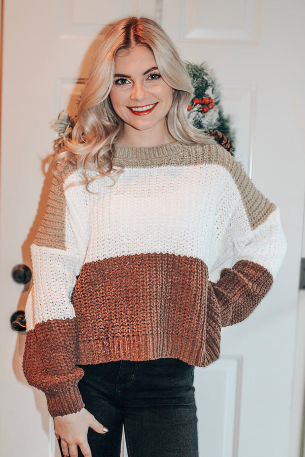 Cute and Divine Colorblock Drop Shoulder Sweater