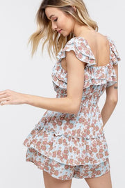 All Your Love Floral Ruffle Romper