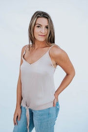 Silk Tank Top with tie front - Blush