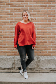 Hi Low Cuff Sleeve Sweater Red