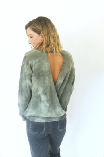 Give Me A Reason Olive Open Back Tie-Dye Top