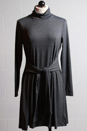 Patrizia Luca Turtleneck Waist Tie Dress Grey YD9171