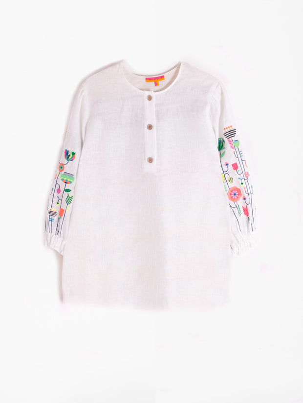 Vilagallo Embroidered Karen Shirt White Linen