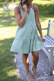 LIGHT OLIVE BUTTON DOWN DRESS