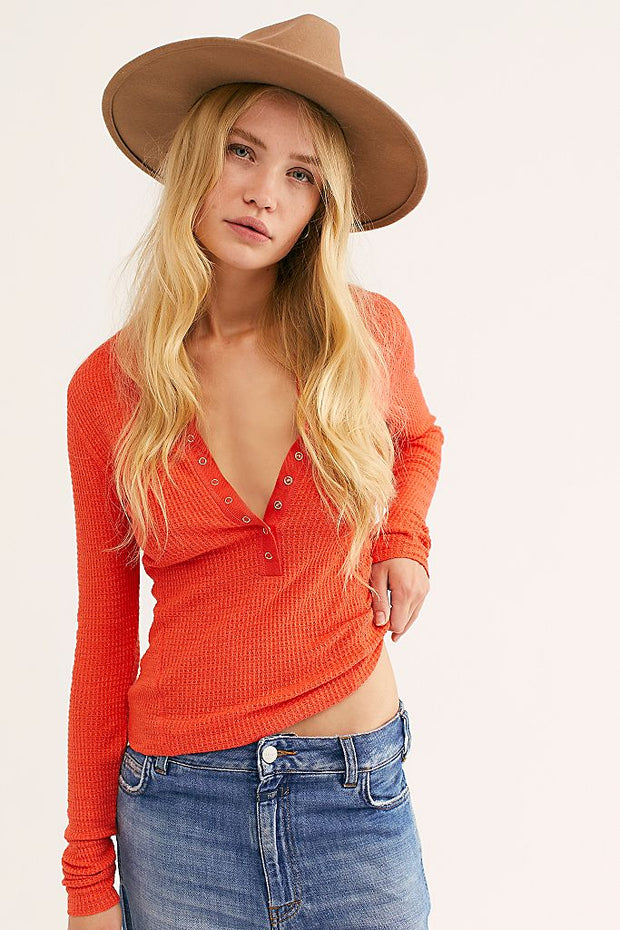 Free People One of the Girls Coral Delux Henley Top