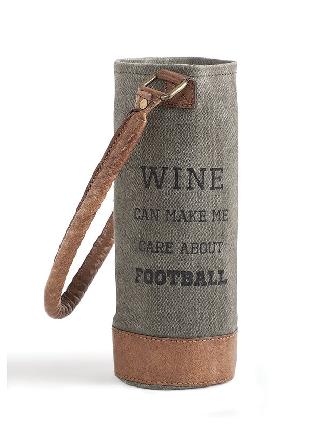 "Up-Cycled ""Care About Football"" Canvas Wine Bag"