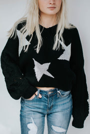 Distressed Star Sweater V Neck