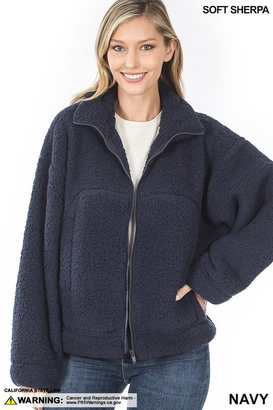 Soft Sherpa Drawstring Hem Zipper Front Jacket - Navy