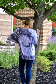 Grey Blue Tie Dye Long Sleeve Top