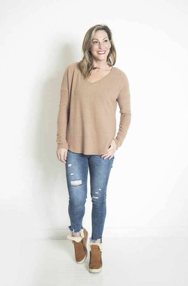 On The Bright Side Camel Long Sleeve V-Neck