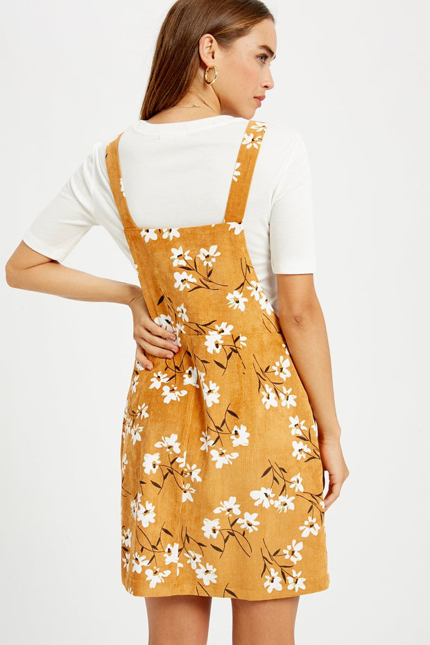Feeling Joyful Floral Printed Corduroy Overall Dress