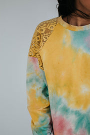 French Terry Tie Dye Pullover W/Lace Trim