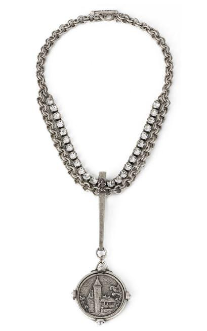 French Kande SWAROVSKI AND DOUBLE CABLE CHAIN WITH LONG BAIL AND PASQUIER MEDALLION