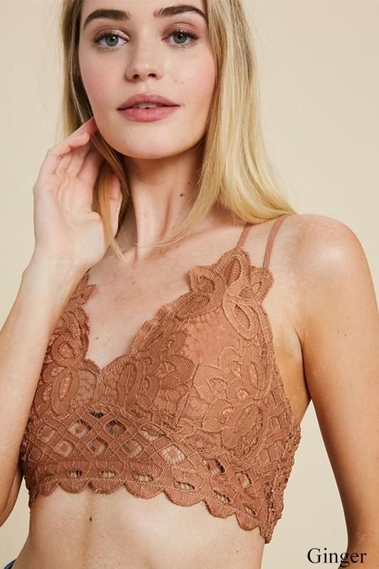 Mocha Double Strap Scalloped Lace Bralette