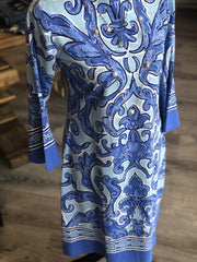 Barbara Erickson Flounce Sleeve Jewel Neck Dress