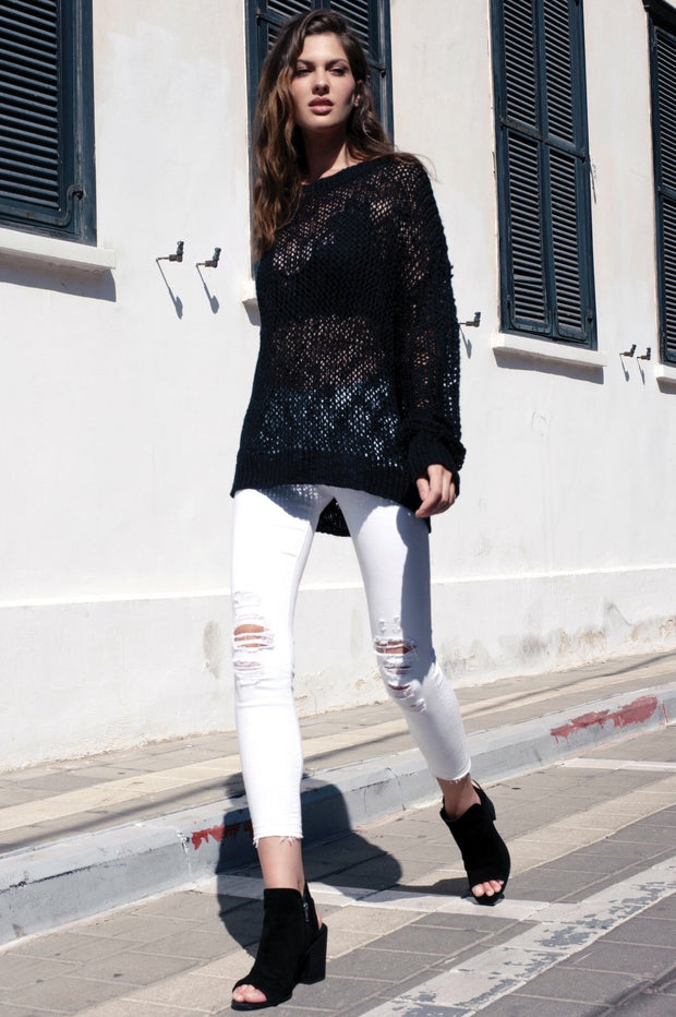 Elan mesh round neck sweater