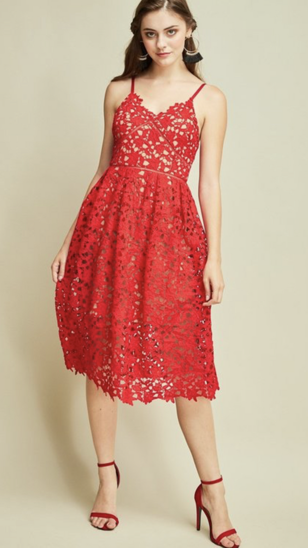 Red Crochet Lace Dress