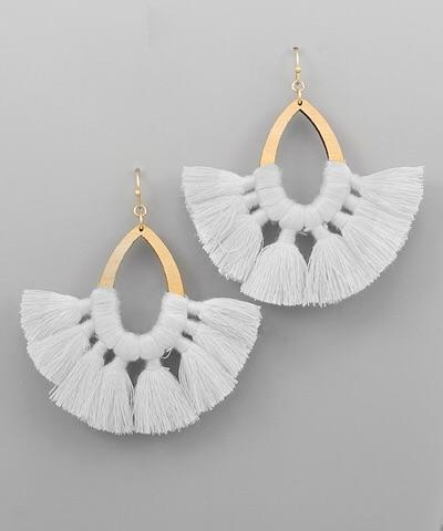 Stella Teardrop Tassel Fan Earrings