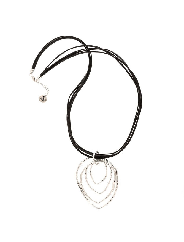 Trades by Haim Sharar - Leather Necklace With Silver Pendant
