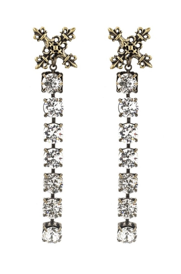 French Kande SWAROVSKI DROP AND X PENDANT EARRINGS