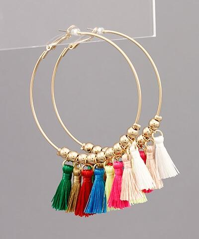 Stella Multi Tassel Ball Hoops