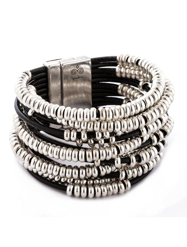 Trades By Haim Shahar- Style & Substance Black Leather Bead Bracelet