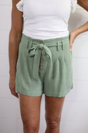 SAGE SHORTS WITH BUTTONS AND TIE