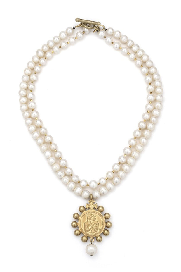 French Kande White Pearl and Gold Heishi