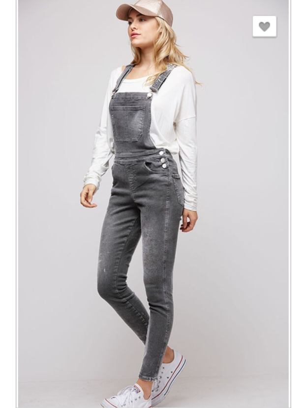 Grey Denim Overalls-Final Sale