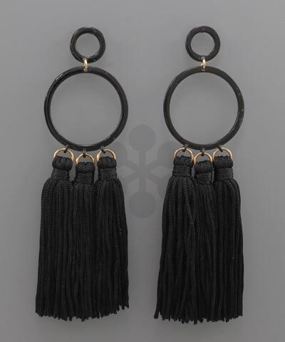 Stella Tassel Circle Earrings