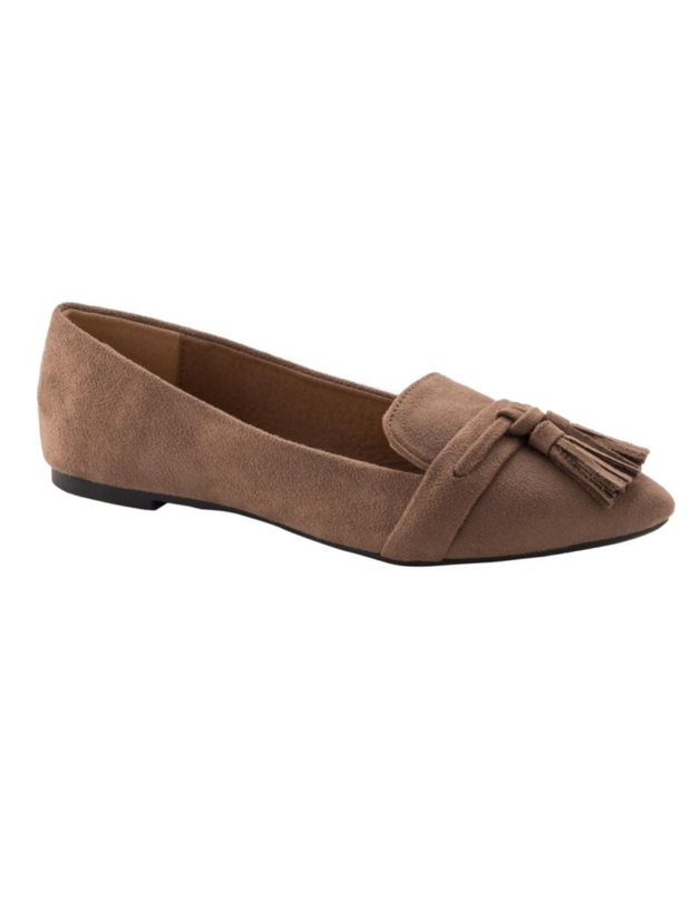 Taupe Suede Tassle Flats
