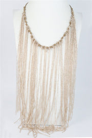 Ole Accessories Long Crystal Beaded Tassel Necklace