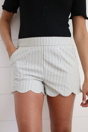 STRIPED AND SCALLOPED SHORTS