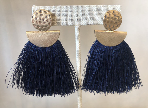 VLU Style Gold/Navy Tassel Earrings