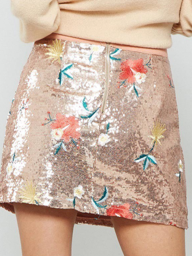 Embroidered Sequin Mini Skirt-Final Sale