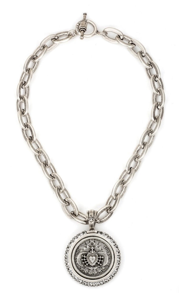 French Kande LOURDES CHAIN WITH CENTENNIAL I HEART STACK MEDALLION AND SWAROVSKI