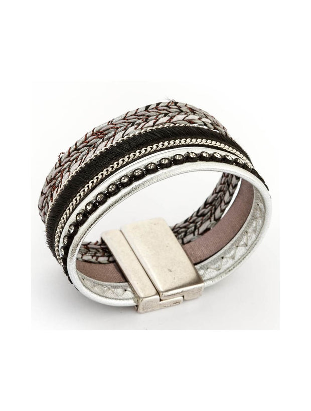 Trades By Haim Shahar- Leather And Silver Bracelet