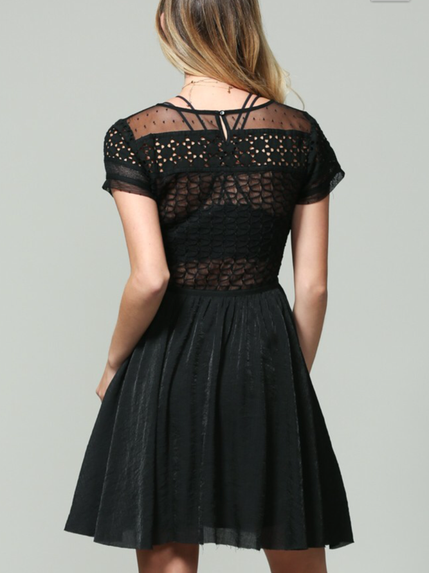 Mesh Detail Lace Crochet Dress
